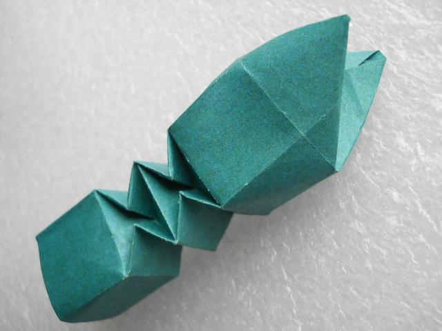 оригами змея, модульное оригами змея, оригами из модулей.