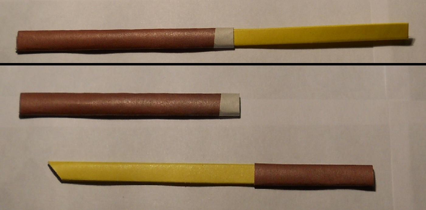 И отправить в сказочное путешествие.  Для изготовления рукоятки меча и ножен потребуется листок темного цвета.