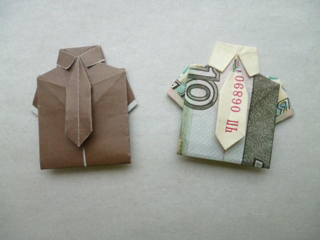 уроки, Схемы оригами Метки.  Moneygami.  Средние.  Рубашка из денег, рубашка из купюры, Рубашки Комментарии Галстук...